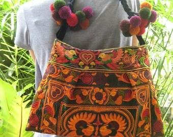 Hmong Vintage Style Ethnic Thai Boho Hobo Indian Medium Size Bag