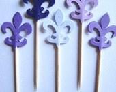 24 Mixed Purple Fleur de Lis Party Picks - Cupcake Toppers - Toothpicks - Food Picks - FP284