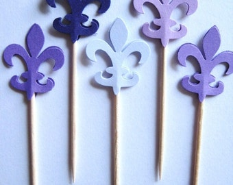24 Mixed Purple Fleur de Lis Party Picks - Cupcake Toppers - Toothpicks - Food Picks - FP284