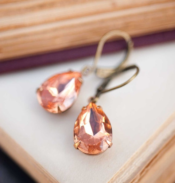 Dangle estate style earrings peach earring bridesmaids gift vintage earrings wedding jewelry Swarovski Crystal - Sweet Georgia Peach