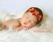 Baby Headband- Baby Girl Headband- Newborn Headband-Triple Small Orange Fall Harvest Flower on Soft Brown Elastic Headband