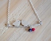 Two Love Birds Swinging on a Branch with Red Rudy, Blue Sapphire, Sterling Silver, July Birthstone, September Birthstones, Gift Under 25