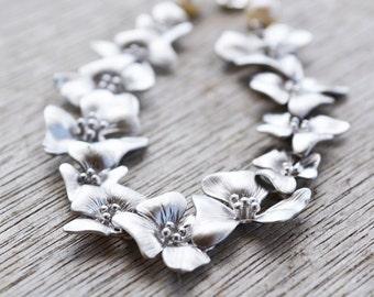 Cascading Silver Flower Bracelet with White Freshwater Pearls, June Birthstone, Pearl Cherry Bracelet, Wedding Jewelry, Gift Under 40