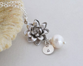 Personalized Charm Silver Lotus Flower, Freshwater Pearl Necklace, Sterling Silver, Water Lily Pearl Pendant, Monogrammed Gift