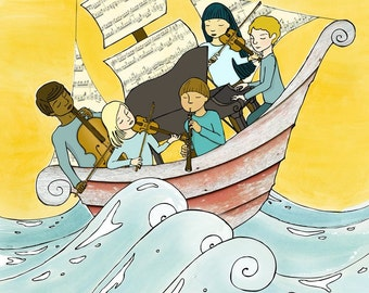Let the Ebbs and Flows Carry Us - Art Print - Musicians on Boat - Chamber Music on the Ocean