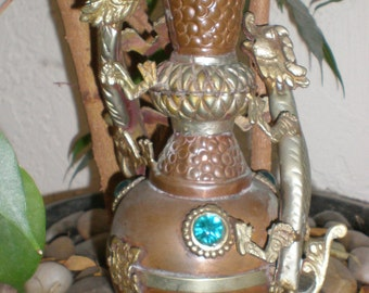 Double Dragons Copper And Brass Jewel Embellished Vase- Great Decorative Detail For Dragon Good  Luck