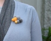 Brooch - Mustard, Graphite and Smoke  - wool felt cluster in corn, grey, mustard