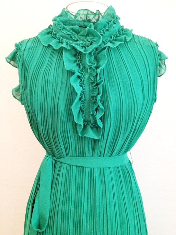 Margaux Regal Dress: Frilly Green Pleated Flirty Ruffle Day to Night Cocktail Boho Dress - Reminiscent of Chloé