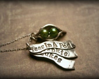 Two Peas in a Pod Pendant, Custom Name banners and Necklace