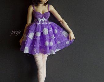 Violet polkadot ruffle dress for MSD