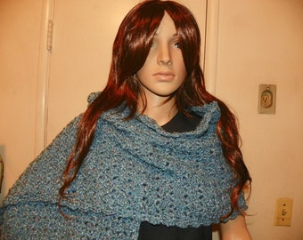 Silver Blue Elegant Shawl Wrap Neckwarmer with Specks of White and Mauve