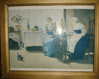 """Presenting""""The Gossips,"""" Framed Print by Carl von Marr, Painter of Light, Early 1900's"""