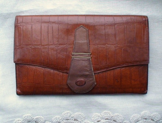 Vintage Crocodile Clutch, Handbag,  with Ecrase Goat Flap Lining - Treasury Item