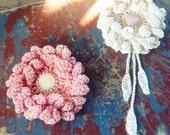 Crochet Flower Pattern Crochet Peony or Sunflower PDF - hair brooch, hat embellishment, shawl pin, accessory - Easy - Instant DOWNLOAD