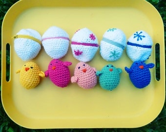 Easter eggs & baby chicks Crochet Amigurumi Pattern PDF - playful egg box TOY kids  - Instant DOWNLOAD