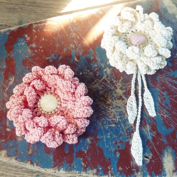 Flower Crochet Pattern crochet Peony or Sunflower PDF - hair brooch, hat embellishment, shawl pin, accessory - Easy - Instant DOWNLOAD