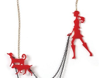 Red statement jewelry, Valentin's gift for girlfriend, Dog walker necklace, A walk in the park, animal lovers jewelry, gift for teen girls