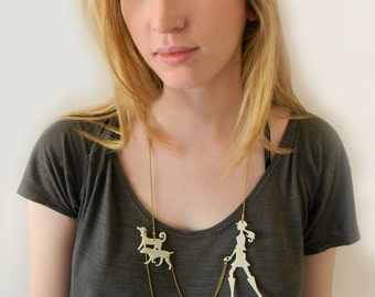 Dog walker statement necklace - animal lover jewelry, A walk in the park - Laser cut acrylic, jewelry, Ivory necklace,  cream dog necklace