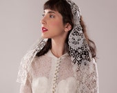 Vintage 1920s Needle Lace Veil - Juliet Cap Wedding - 1930s Bridal Fashions