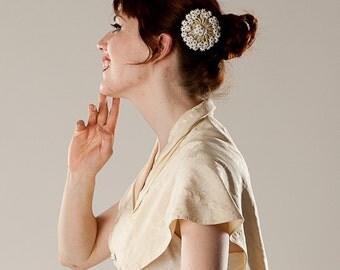 Vintage 1930s Wedding Brooch White Floral Pin Hair Decoration Bridal Fashions
