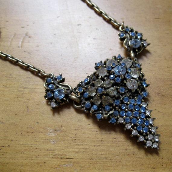 Vintage 1950s Necklace Hollycraft Blue Rhinestone Bridal Basket Fashions