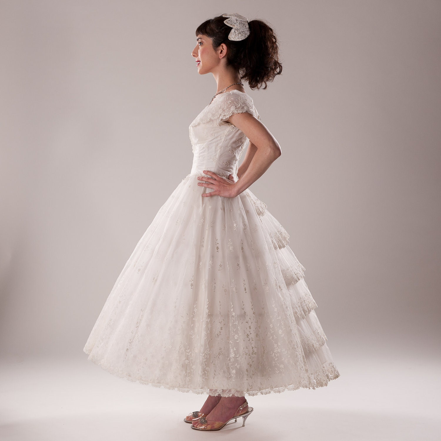 Reserved Vintage 1950s Tulle Wedding Dress Gown Corset Hoop