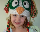 Christmas Hat, Owl Baby Hat, Owl Crochet Hat, Owl Hat, Photo Prop, Newborn to 12 months, Newborn Photo Prop