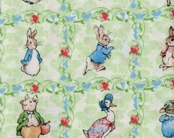 "Beatrix Potter Fabric Benjamin Bunny Baby Nursery Squares green """"  - Treasury Item"