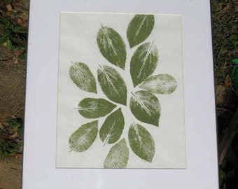 "Botanical Nature print, ""The Gathering,"" a hand-pulled relief print, one-of-a -kind print of hibiscus leaves, green ink, printing, monotype"