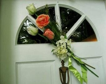 Silk wedding bouquet, year-round, door wreath/swag, spring wedding bouquet,  hydrangea, tulips, ranunculus,