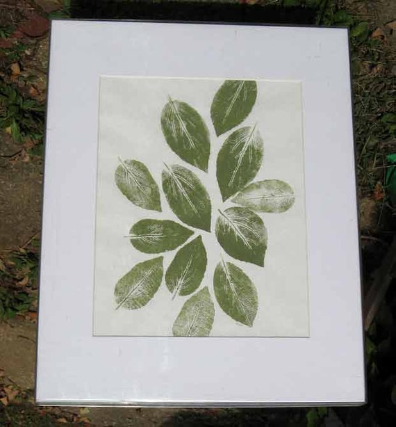 """Botanical Nature print, """"The Gathering,"""" a hand-pulled relief print, one-of-a -kind print of hibiscus leaves, green ink, printing, monotype"""