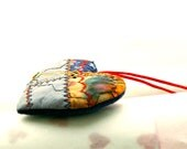 HEART ORNAMENT, Crazy Quilt, Grey Gold, Hand Embroidery, Personal Gift Idea