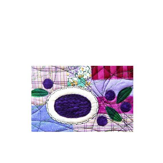 Food Art , BLUEBERRIES SOUP, Fiber Art Card, Kitchen decor, purple white