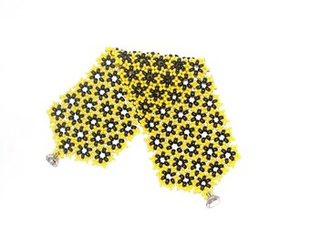 Black And Yellow Wide Lace Cuff