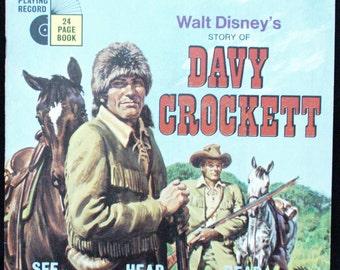 VINTAGE 1971 Davy Crockett Vinyl Record and Book # 360 Walt Disney Read Along Disneyland Records Tinker Bell Tinkerbell Davey Crocket Gift
