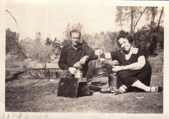 Brunch on the Camp Stove- Weekend Campers- Camping Couple- 1920s Vintage Photograph- Snapshot