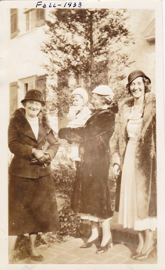 Spoiled Baby- Mom, Aunt and Grandma- Sepia Snapshot- 1930s Vintage Photograph