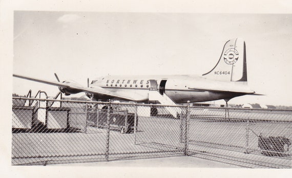 NWA Airplane- Northwest Airlines- Plane- 1940s Vintage Photograph
