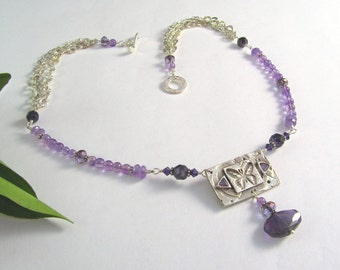 Butterfly Necklace - PMC Fine Silver - Amethyst and Swarovski Crystal - Carved Butterfly Pendant - Faceted Amethyst and Fine Silver Necklace