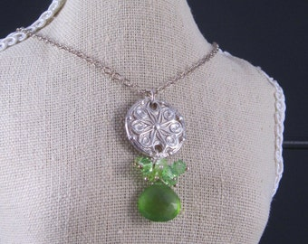Fine Silver Necklace - Carved Spiral Design & Faceted Chalcedony - Silver Pendant with Swarovski Crystal and Peridot - Moss Green Chalcedony