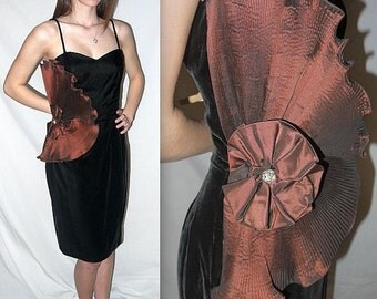 Avant Guarded ... Vintage 80s party dress / 1980s cocktail formal club / avant garde origami / black velvet wiggle ... S M
