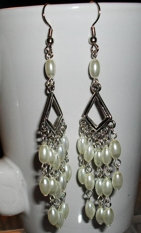 Faux  Whit pearl Chandelier  Dangle Earrings