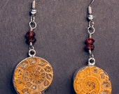 Faceted Garnet and Bezel Set Ammonite in Sterling Silver - RESONATE - Free US shipping