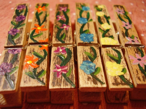 6 Decorative Hand painted Clothes Pins, A Garden of Flowers