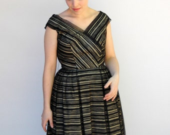 Vintage 1950s Dress - A Thing of Beauty - Striped Cream and Black Cotton Dress with Organza Overlay