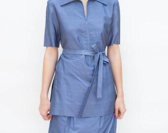 Vintage 1960s Dress - Baby Blues - Original Halston Slate Blue Silk Suit Dress