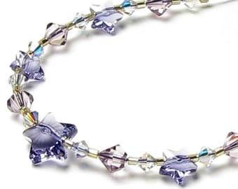 Twilight Stars Swarovski Crystal Purple Tanzanite Star Necklace, 14K Gold Filled, Romantic Anniversary, Gift For Teen, Girlfriend, Gift Box