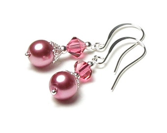 English Rose Garden Pink Swarovski Crystal And Pearl Silver Earrings, Indian Pink Crystals, Romantic Cottage Chic Jewelry, Mother's Day Gift