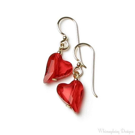 Red Heart Earrings, Red Wild Heart Swarovski Crystal, 14K Gold Filled Earring, Valentine's Day Gift, Heart Earrings, Siam, Red Heart Jewelry