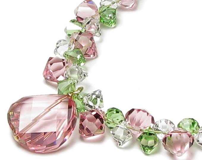 Peppermint Twist Pink Green Clear Swarovski Crystal Necklace, Spring Mother's Day Gift, Twist Bead Crystal Drops Swarovski Jewelry For Women
